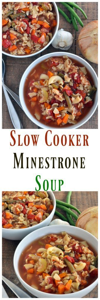 Healthy vegan Minestrone Soup that can be made in the slow cooker. No heating up your whole kitchen for this recipe. Super easy too.