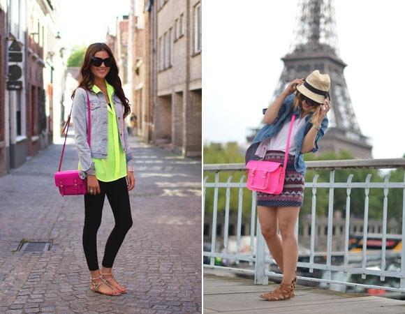 Aposte também nos acessórios! A bolsa pink deu um up no primeiro look (junto com a camisa verde neon) e é o destaque do segundo. Lindos! *-*