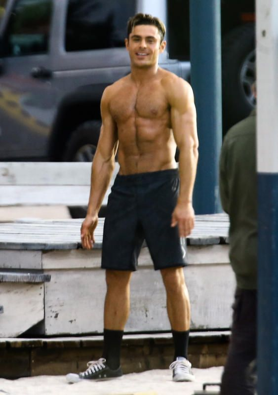Zac Efron is shirtless on set of Baywatch.