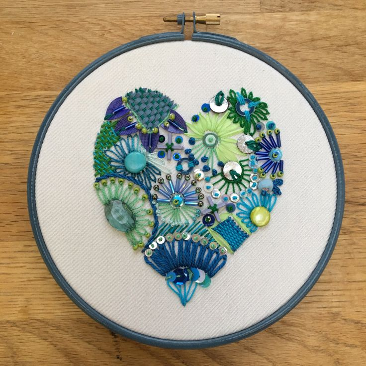 Embroidered heart, blue and green modern embroidery, hand embellished heart, modern textile art, beaded heart, Mother's Day gift by JessicaRoseStitch on Etsy https://www.etsy.com/ca/listing/492168446/embroidered-heart-blue-and-green-modern