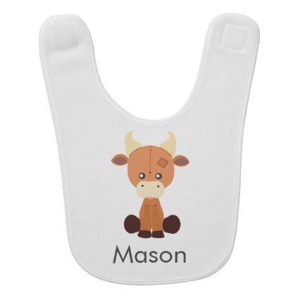 Cute Stuffed Cow Cartoon Custom Name Baby Bib - boy gifts gift ideas diy unique