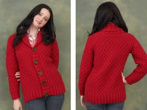 8ae6a0ab Free knitting pattern for a ladies cardigan with a shawl collar ...