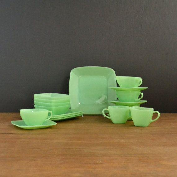 Fire King Jadeite - Charm Pattern - Vintage Dinnerware Set - Square Jadite Dishes - Dessert Set of 18 on Etsy, $377.54 CAD
