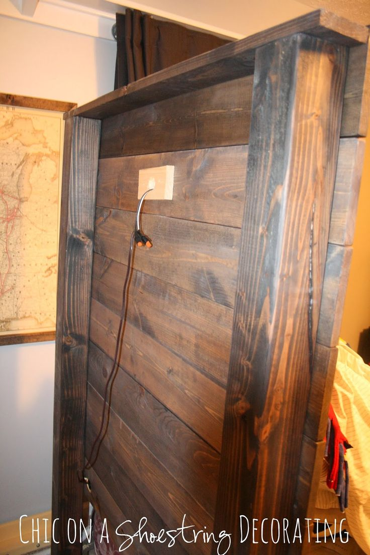 how to build a rustic wooden headboard with an attached light fixture headboard tutorial - Rustic Furniture Outlet