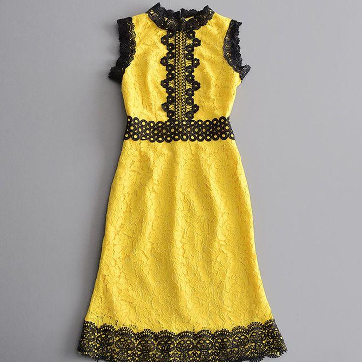 yellow lace dress 2017 - photo #46