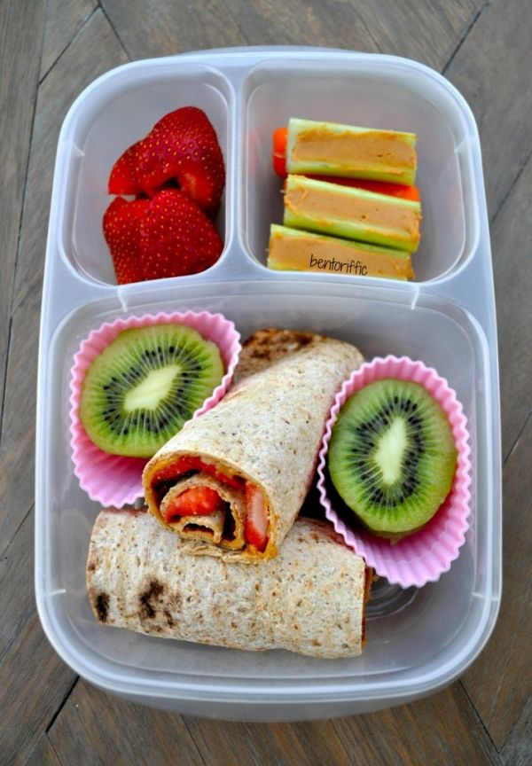 Fresh strawberries replace jam in these yummy roll-ups. Add peanut butter, celery, and sliced fruit