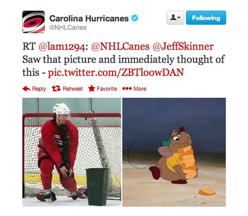 hockey compared to Cinderella  :::: Jeff Skinner does have some mousy cheeks!