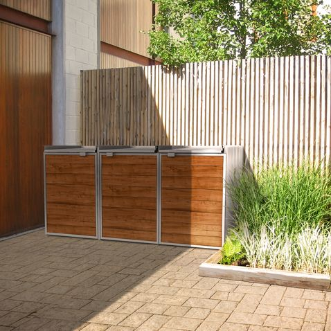 modern shed for garbage recycling bins