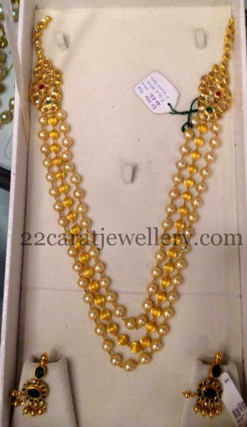 Beads Chain with Emerald Earrings   Jewellery Designs
