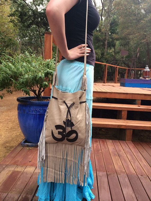 Leather OM bag with tassels by HippieGypsybyCherie on Etsy