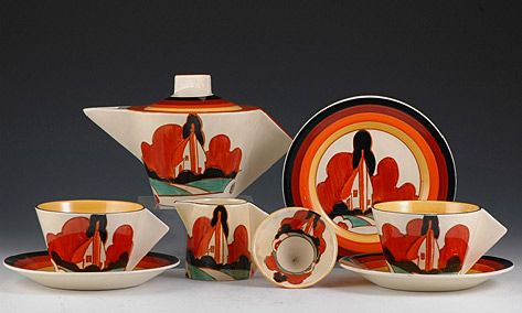Clarice Cliff! and other deco pieces  Also see http://www.veniceclayartists.com/clarice-cliff/