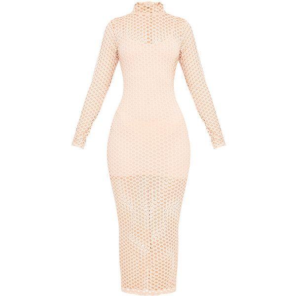 Salia Nude Fishnet Midaxi Dress (725 MXN) ❤ liked on Polyvore featuring dresses, pink fishnet dress, nude dress, pink dress and fishnet dress