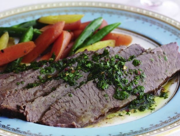 Brisket is one of the first dishes that comes to mind when I think of kosher meals, and the forgiving cut of beef is one of Jamie Geller's favorites to cook. While there were more traditional preparations in her book, I was drawn to this zippier Argentinian-inspired recipe.