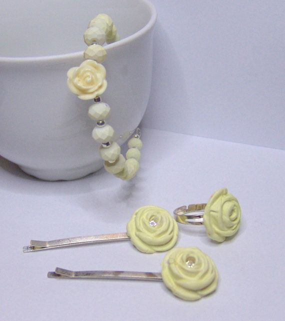 Vanilla Ice Cream Hair PIns Ring Bracelet by 1000and1 on Etsy, €12.00