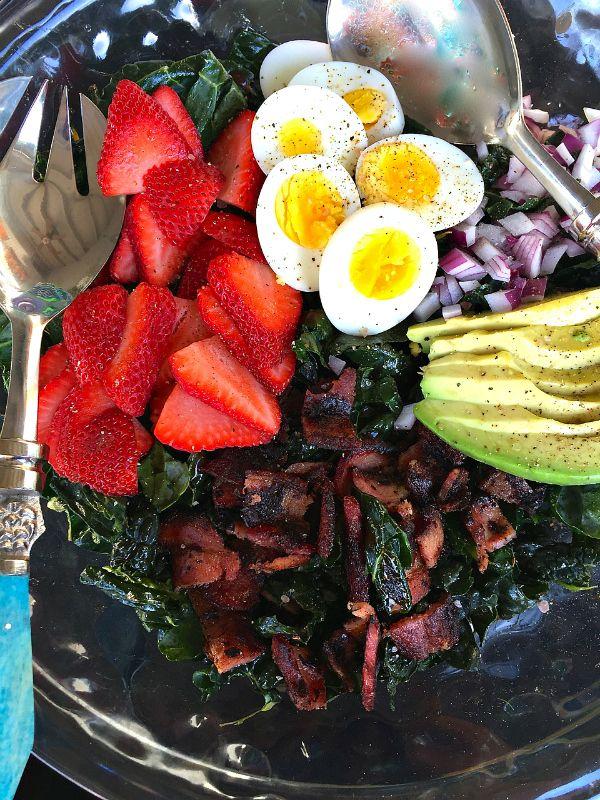 Strawberry Avocado Kale Salad with Bacon