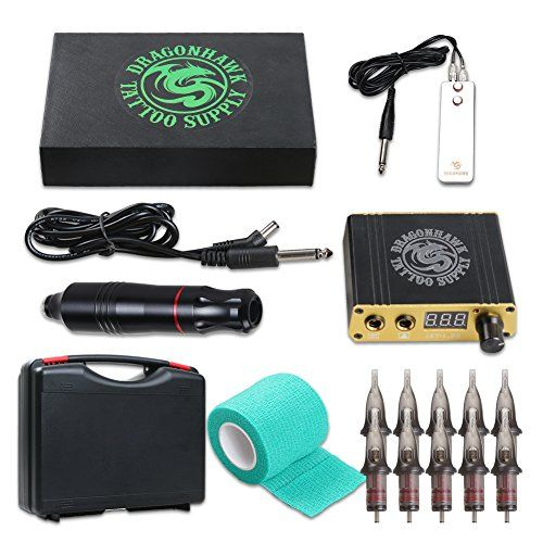 Dragonhawk Cartridge Tattoo Machine Kit Pen Rotary Tattoo Machine Cartridge Needles Power Supply for Tattoo Artists 1013-7  Dragonhawk Cartridge Tattoo Machine precision DC motor, continuous operation, Low noise, Long-lasting stability, Light weight, unibody. Compatible with all cartridge needles.  10 pcs tattoo needle cartridges. Dragonhawk tattoo power supply fitted with rotary machine  Switch frequency: 55-165 Hz. Needle protrusion: 0 - 4.5 mm. Length of the stroke: 3.5mm.