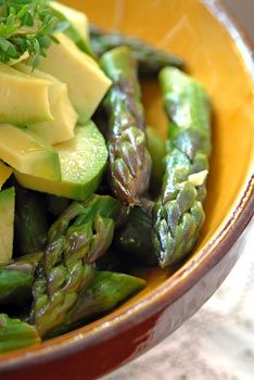 Warm asparagus and avocado salad ~ it's enough to be a light meal for two, with a nice whole grain bread on the side.