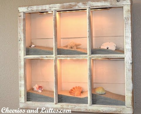 old window frame display box collections of sand and shells from each visited beach vacation. Use plexiglass over the face and then mount an old window frame over. I LOVE THIS