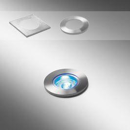 genesis 40 petit spot rond carr led encastr sol en inox laiton tanche ip66 avec verre. Black Bedroom Furniture Sets. Home Design Ideas
