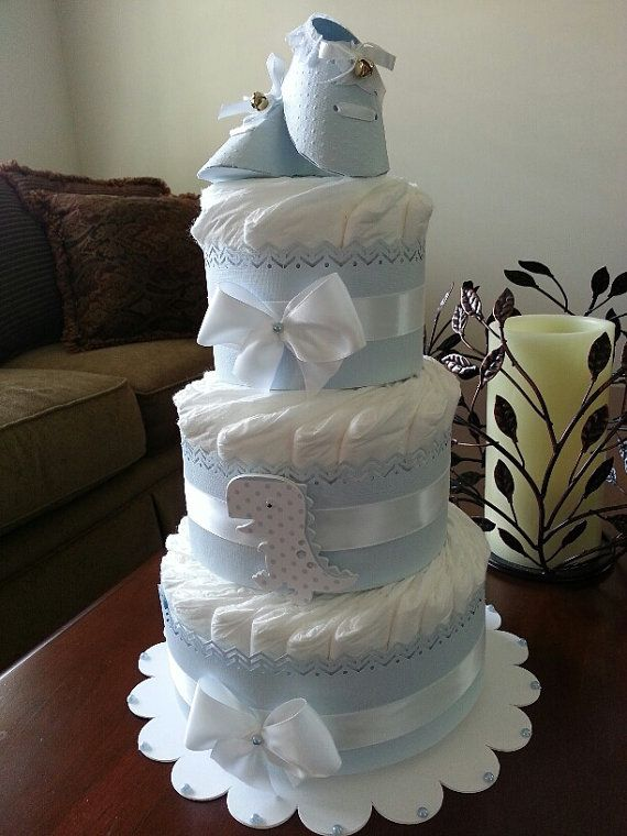 Three Tier Blue Diaper Cake For Baby Boy / by TheCarriageShoppe