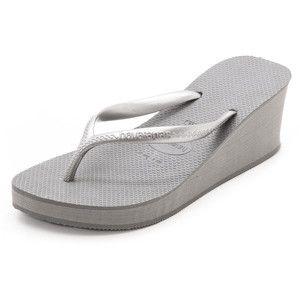 Havaianas High Fashion Wedge Flip Flops - Grey