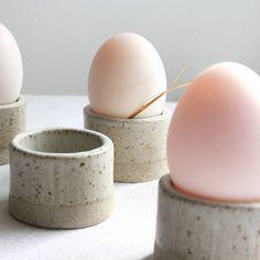 serving breakfast in bed, rustic egg cups
