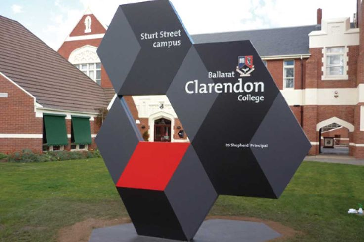 This image showcases a architectural pylon sign we fabricated and installed in Ballarat. This pylon sign is made using 2 pac painted aluminium panels with 3D laser cut crest and lettering. An impressive entrance sign for Ballarat Clarendon College. Signs: Consolidated Signage | VIC #signage #signs #sign #enterence #architectural #aluminium #portfolio #contemporary #pylon #design #marketing #wayfinding #damon #munn #damonmunn