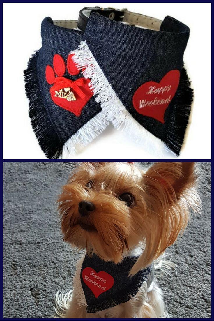 Small #dog #collar #bandana Small dog outfit Denim dog bandana Girl dog gift Summer dog bandana Cute #dogbandana Cool dog gifts Gift for dog #yorkie