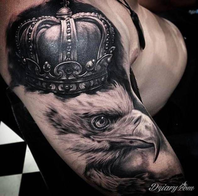 Orzeł W Koronie Ptaki Tusz Do Tatuażu Fajne Tatuaże I