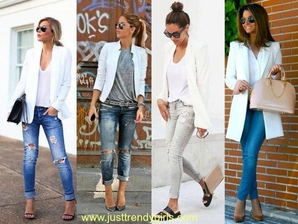 white blazer styling ideas, Casual blazers styling ideas http://www.justtrendygirls.com/casual-blazers-styling-ideas/