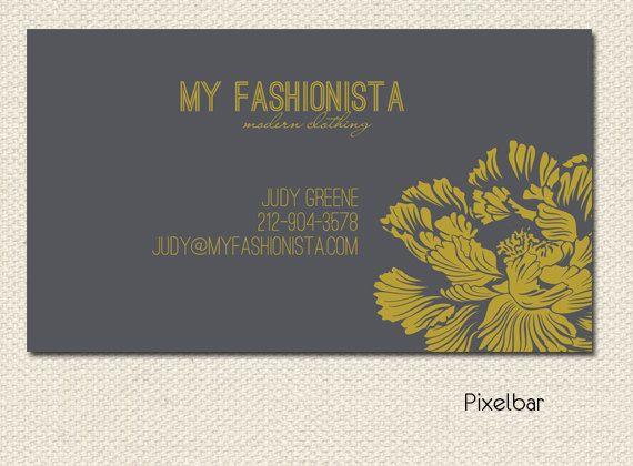 Modern Charcoal and Mustard Floral Business Card Design  No.82 Calling Card. $12.00, via Etsy.