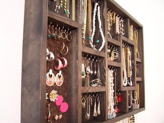 Jewelry Organizer Wall Hanging Jewelry by barbwireandbarnwood, $128.00