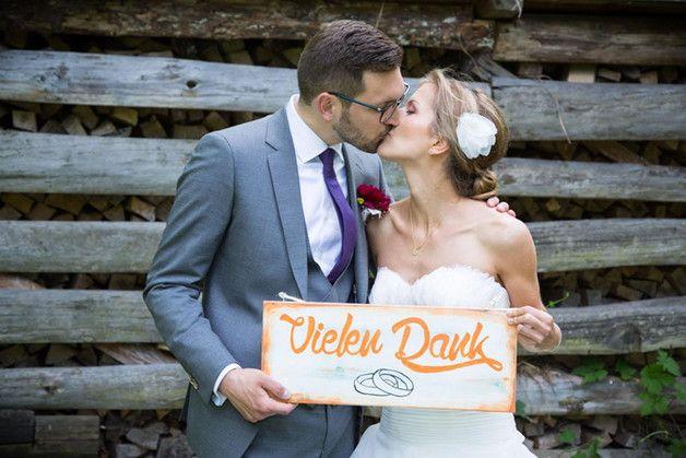 Hochzeitsdeko - Holzschild Danke - ein Designerstück von Linda-Thom-Lillis-Handcraft bei DaWanda