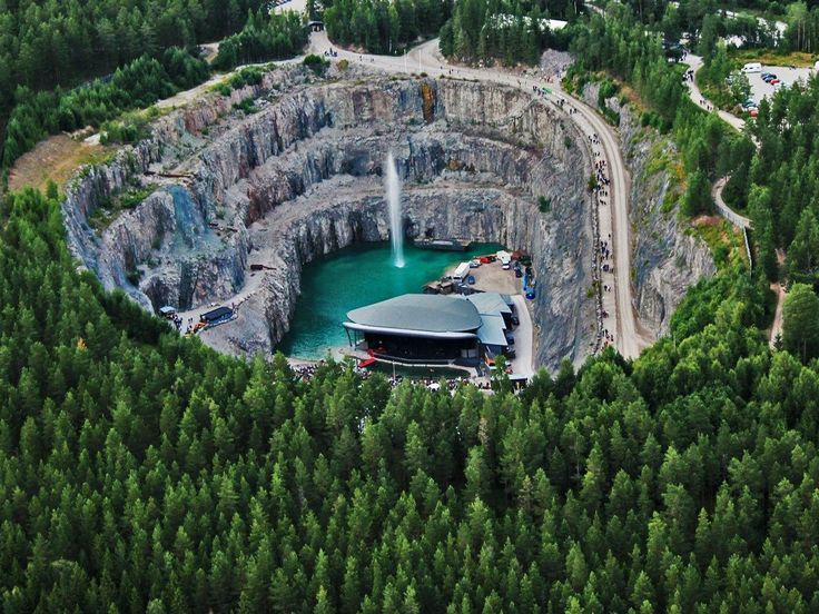 The Dalhalla amphitheater is a former limestone quarry located in Rättvik, Sweden. Concertgoers are submerged 196 feet below the surrounding lush forests to see the variety of music events it holds from June to September every year.