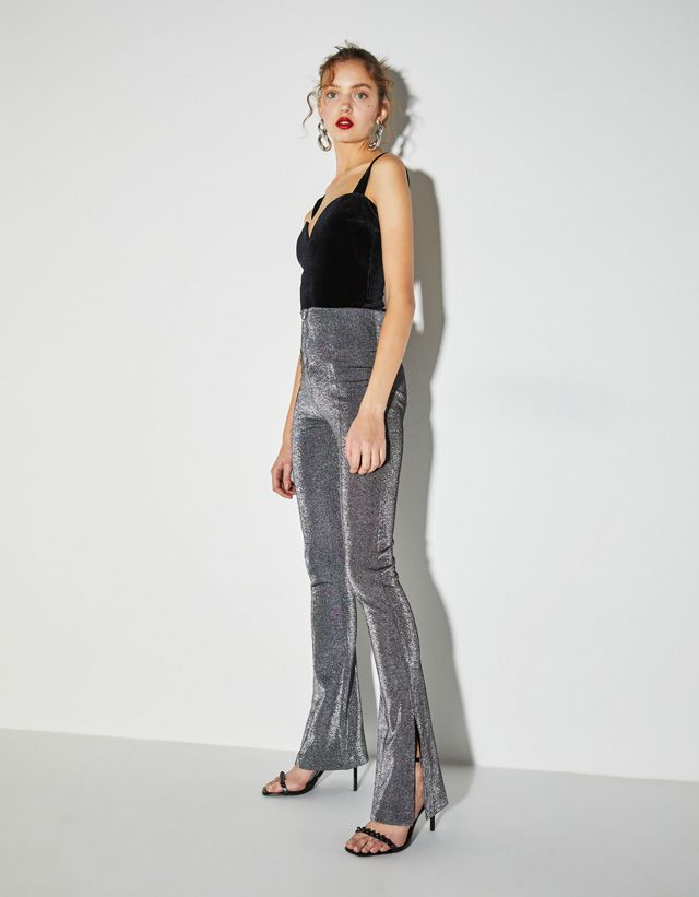 5273baaa944 Flared leggings with metallic thread - Bershka  newin  new  fashion  clothes   party  partycollection  trend  trendy  cool  2018  tendencia  moda  outfit  ...