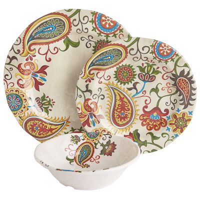 Add some flourish to your table with our worry-free melamine dinnerware created in a vivid paisley and floral print. Absolutely stunning against solid color dinnerware, it may be just the burst of color that your outdoor—or indoor—dining needs.