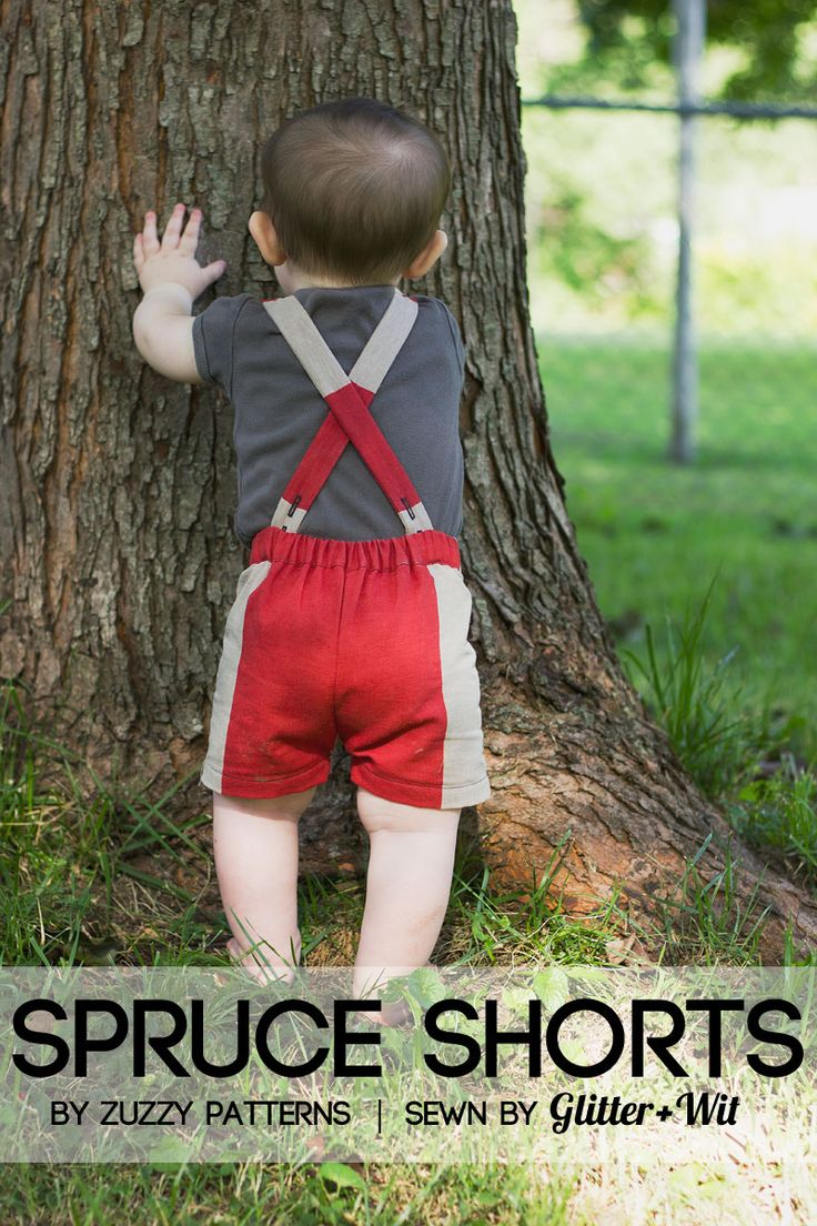 Spruce Shorts sewing pattern by Zuzzy Patterns, sewn by Tasha Early of Glitter+Wit. Vintage-style suspender shorts for baby boys. The straps are removable!
