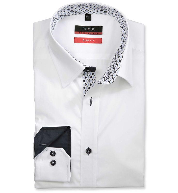 Slim Fit priliehavá biela jednofarebná košeľa Popelín (plátnová tkanina)