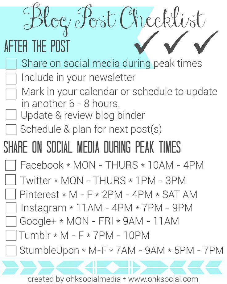"""Free Blog Post Checklist Printables & Social Media Peak-Time Mini Guide - ohksocialmedia (Page 2 of 2)   One of the biggest concerns I hear from clients is that they just get so overwhelmed by the whole blogging """"thing""""; they can't keep it all straight. From inception, to writing, to publishing and promotion - Save to your desktop or print it off to add to your blog binder! Get it here ---> http://ohksocial.com/free-blog-post-checklist/"""