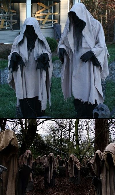 About 5 of these in the woods between the bone yard and the coop. Chicken wire over PVC, then drape with canvas and/or burlap? Spook Group Costume for Haunted House