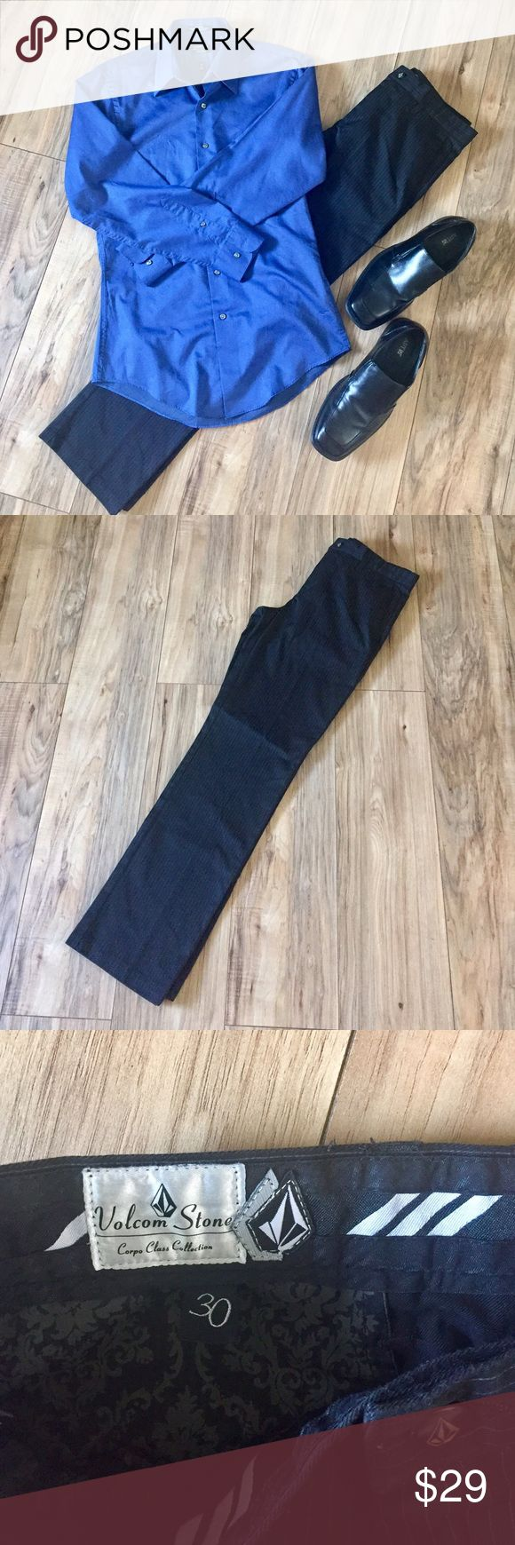 Men's Volcom Stone black pinstripe chinos Men's black pinstripe Volcom Stone Frickin' Chino Pants for PacSun. No, I wasn't frustrated when I described these pants- that's just the name! 😂 Worn once - perfect condition! 30Wx30L. Volcom Pants Chinos & Khakis
