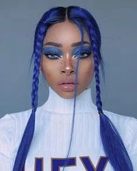 Blue bowl cut wig ombre black to blue hair