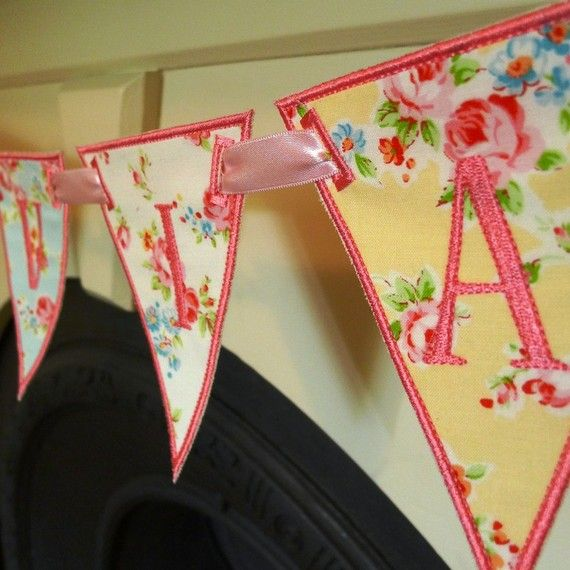 Have to conquer Applique stich and sew a banner for baby girl