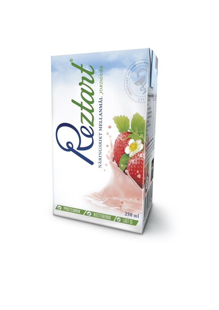 Reztart dryck Jordgubb är ett näringsrikt mellanmål med lågt GI.  Produkterna är ett resultat av 10 års svensk forskning, och är baserad på ett svenskt patent.  Reztart är baserade på naturliga råvaror och innehåller en unik sammansättning av tre proteinkällor, nyttiga fibrer, långsamma kolhydrater & essentiella fettsyror.