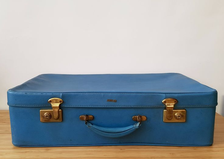 Vintage Antler Suitcase Blue  lovely to use for storage Retro  Vintage luggage Old Luggage Old Cases Old Suitcase Wedding display case by Route46Vintage on Etsy