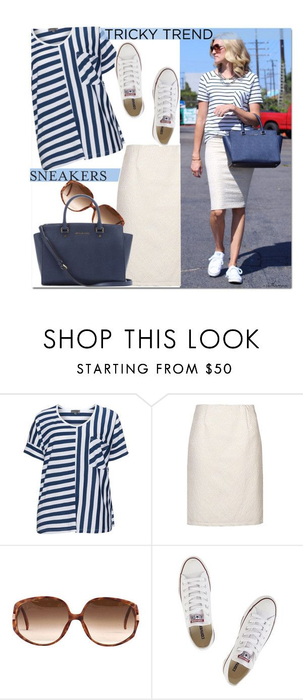 """Stripes 'n Sneakers"" by arethaman ❤ liked on Polyvore featuring Zhenzi, Vera Mont, Converse, MICHAEL Michael Kors, TrickyTrend, sunglasses, tote, pencilskirt and stripedtee"