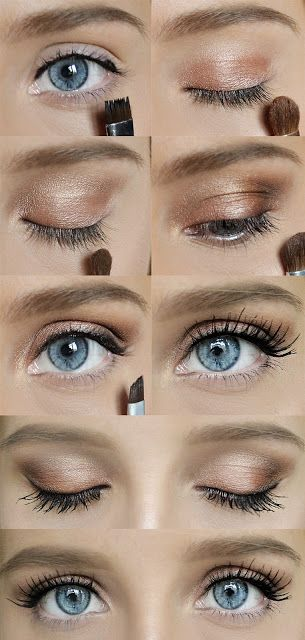 pinks, golds, and bronzes along with a pop of blue gunmetal smudged under the bottom eyelid will make blue eyes pop.