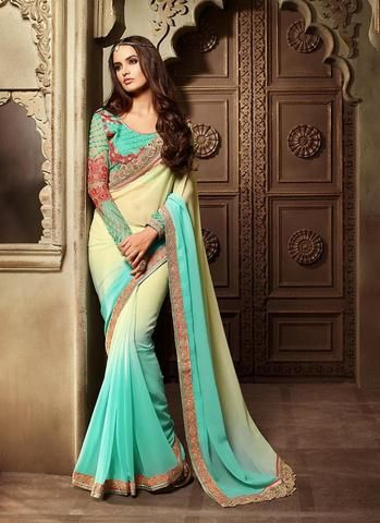 Blue Georgette Best And Cheap Sarees Online Shopping ,Indian Dresses - 1