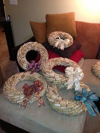 """Wine Cork Wreaths $35 12"""" ~ $45 16"""""""