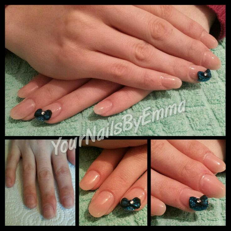 Natural acrylic nails with free hand 3d bows & blue glitter detail